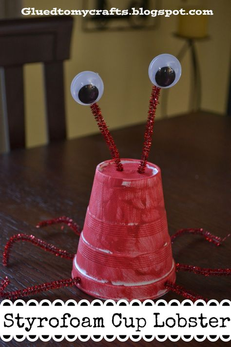 Summer DIY: The Little Mermaid- Under the Sea-  Sebastian Styrofoam Cup Lobster Craft for the little ones.