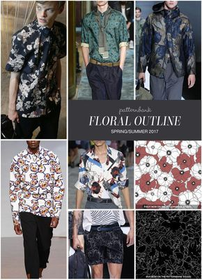 Menswear Spring/Summer 2017 – Key Print and Pattern Highlights -Floral Outline