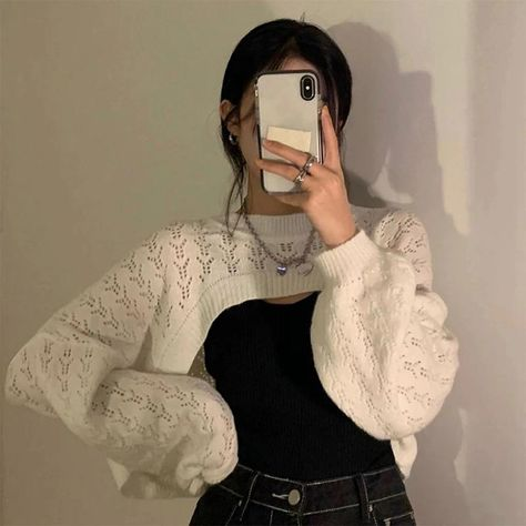 Hollow long-sleeved sweater top short blouse - One-size, White Woolen Blouse