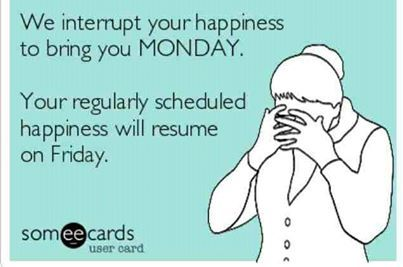 We Interrupt Your Happiness To Bring You MONDAY. Your Regularly Scheduled  Happiness Will Resume On Friday.lol So True