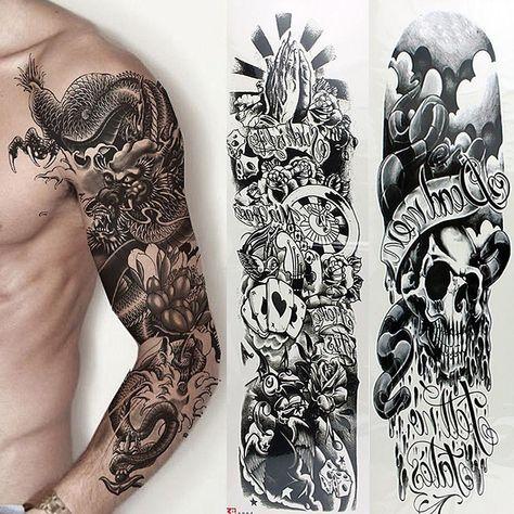 5 Sheets Temporary Tattoo Waterproof Large Arm Body Art Tattoos Sticker Sleeve