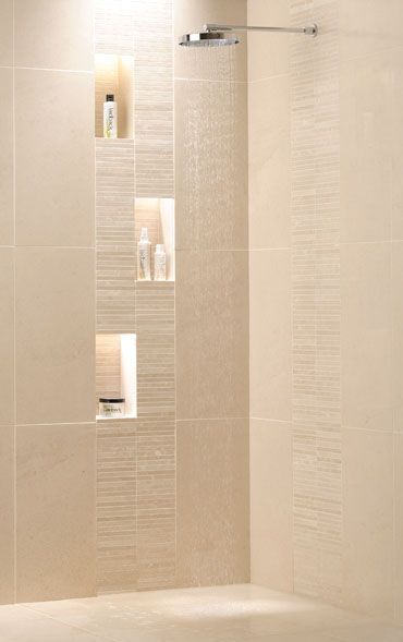 Bathroom Shower Tile Ideas | Shower idea from Ardennes limestone tiles.