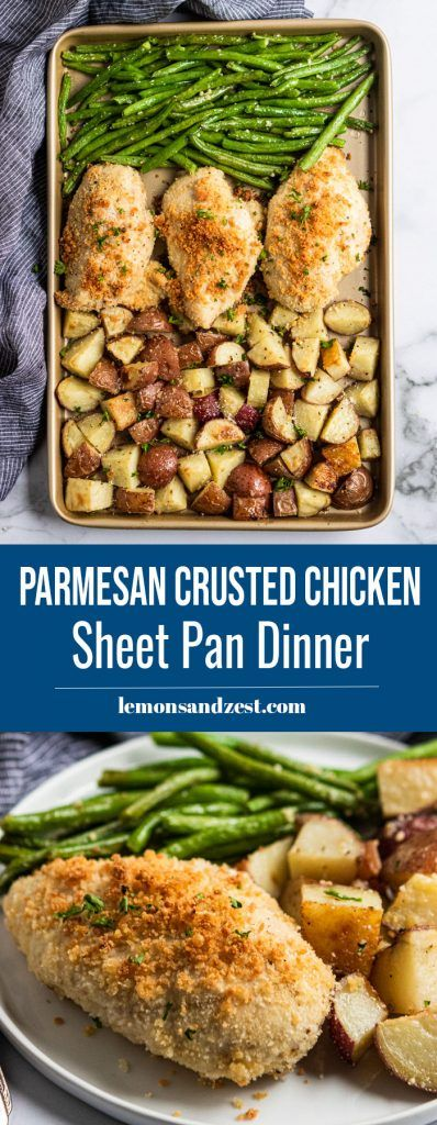 Dinner on one pan? This simple Parmesan Crusted Chicken Sheet Pan Dinner is easy to toss together and clean up is a breeze. Crispy roasted potatoes, garlic green beans and juicy, parmesan crusted chicken is a meal everyone will be begging for! Sheet Pan Suppers, Cooking Recipes, Healthy Recipes, Chicken And Vegetables, Chicken Green Beans Potatoes, Parmesan Green Beans, Garlic Green Beans, Roasted Potatoes, Parmesan Potatoes