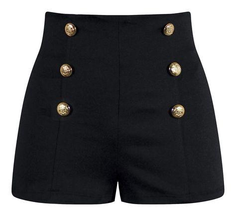 High Waisted Pin Up Shorts - Black