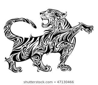 Tribal Cats Images Stock Photos Vectors Shutterstock Tiger Illustration Tiger Tattoo Illustration