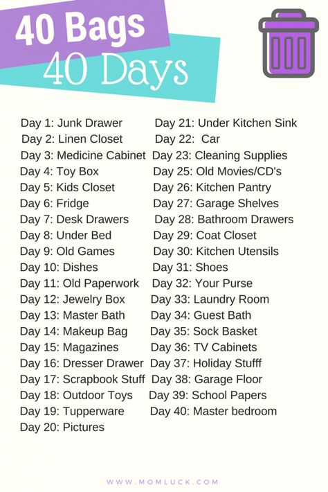 Take the 40 Bags in 40 Days Challenge and get rid of your old stuff! This free 40 bags in 40 days printable will help you to do just that.