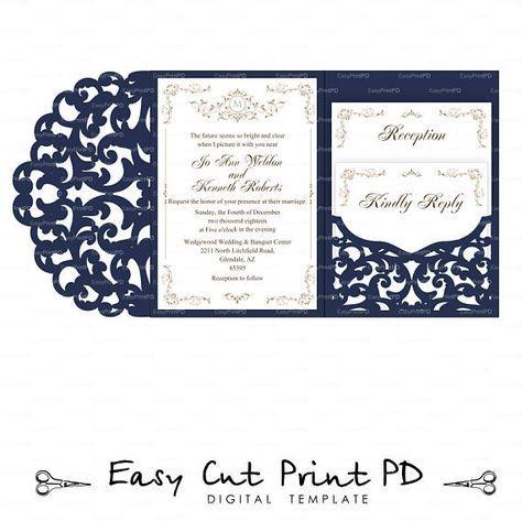 Set Of Tri Fold Pocket Envelope 5x7 Wedding Invitation Svg Dxf Etsy Pocket Wedding Invitations Cricut Wedding Invitations Tri Fold Wedding Invitations