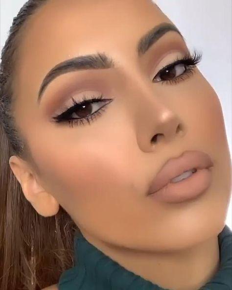 Makeup Tutorial Eyeliner, Makeup Looks Tutorial, Contour Makeup, Eyebrow Makeup, Skin Makeup, Easy Makeup Looks, Simple Party Makeup, Types Of Makeup Looks, Nose Contouring