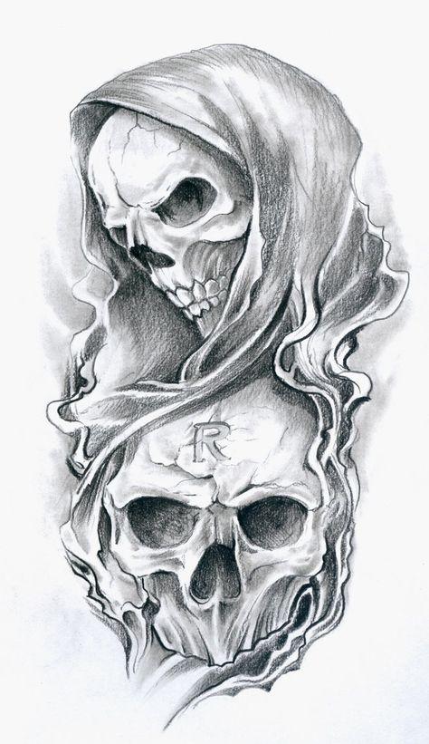 evil joker skull n 8 ball tattoo design tattoo ideas - tattoo skull sketch Evil Skull Tattoo, Skull Sleeve Tattoos, Grim Reaper Tattoo, Skull Tattoo Design, Skull Design, Grim Reaper Art, Tattoo Designs, Clown Tattoo, Tattoo Ideas