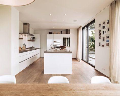 kjøkken, fine farger på et smalt kjøkken mid century modern - alno küchen werksverkauf