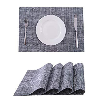 Amazon Com Set Of 4 Placemats Placemats For Dining Table Heat Resistant Placemats Stain Resistant Washable Pvc Table Mats Grey Placemats Placemats Table Mats