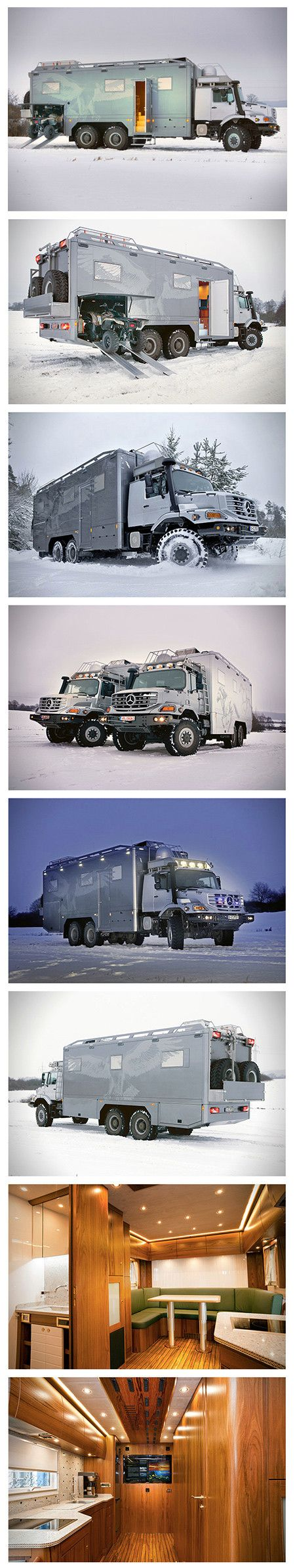 "Let's behold the behemoth that is the Zetros, an all-wheel drive (6×6) luxury vehicle designed for hunting and expeditions over any type of terrain. A 7.2 liter in-line six-cylinder delivers 326 horsepower, but it gets even more interesting inside. That's where you'll find a marble floor bathroom with underfloor heating, plenty of sleeping space, two flat panel TVs (40"" and 46""), satellite dish, Bose audio system, a safe for your valuables and a gun safe, on-board water system for drinking…"