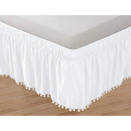 Celine Linen Luxury Top Knot Tassle Pompom Fringe Ruffle Bed Skirt Wrap Around Style Elastic Bed Wrap Wrinkle Resistant 16inch Drop Twin Full White Walma Bedskirt Ruffle Bedding Luxury Linen Bedskirts for twin beds