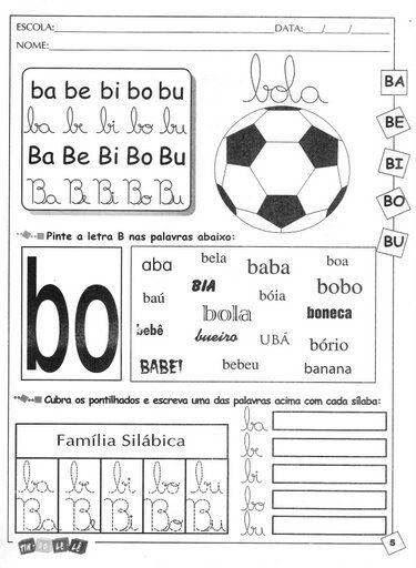 Silabas Com Ba Be Bi Bo Bu Para Aprendizado Com Imagens