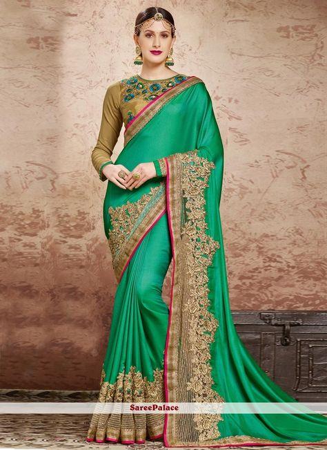 Extraordinary Sea Green Classic Designer Saree