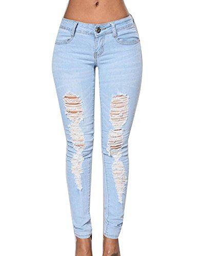 Taille Haute Femme Denim Skinny Déchiré Pantalon Jeans Stretch Long Crayon Pantalon