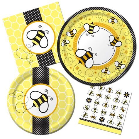 "Our Bumble Bee Baby Shower will be all the buzz!Catch the latest ""buzz"" when you choose our Buzz Ba-bee shower theme!  A perfect choice when you don't know if a little boy or girl is on the way, this theme features great neutral colors of yellow, black, and white with fun honeycomb and polka dot accents.  The delicate bumble bees are a perfect inspiration for a baby shower - these life giving creatures make so much possible in this world by pollinating plants, allowing them to give us life gi..."