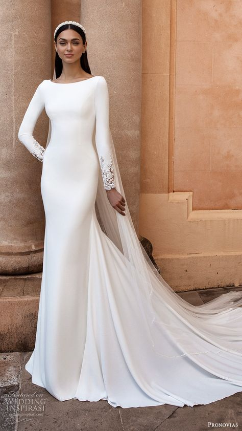 pronovias 2020 long sleeves bateau neckline sheath wedding dress chapel train (1) mv -- Your Guide to 2020's Hottest Wedding Dress Trends Part 1 | Wedding Inspirasi  #wedding #weddings #bridal #weddingdress #weddingdresses #bride #fashion #2020trends #trends #week:012020 #year:2020 ~