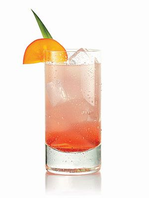 Navy Touch: 1.5 oz silver tequila, 2 oz cranberry juice, 1 oz lemon-like soda, garnish with mint