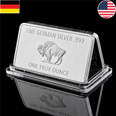 Fine Bullion Germany Silver 999 Mint 1 Troy Ounce Buffalo European Metal Bar Product Usage Home Office Decoration Business And Holiday Gift Metal Bar