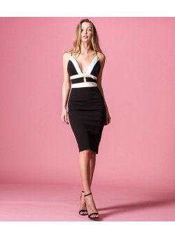 00a7013c0df Δίχρωμο Pencil Στενό Φόρεμα με Βε και Ραντάκια - Λευκό - Μαύρο ...