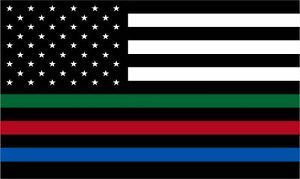 Thin Blue Line Decal - USA Flag with Red, Blue and Green Stripe Flag Decal