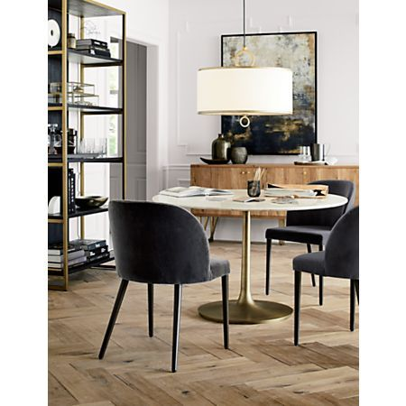 Nero 48 White Marble Dining Table With Brass Base Reviews