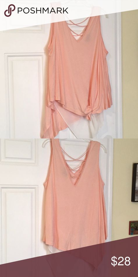 Blouse Flown summer tank, cascading cream and tan, large, criss cross embellished in the back, knot tied in front. Very J Tops Tunics