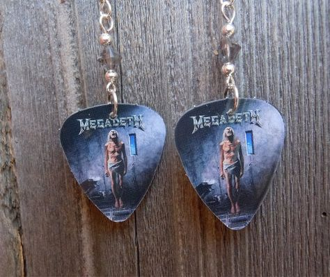 Megadeth Countdown to Extinction Guitar Pick Earrings with Grey Crystals by ItsYourPickToo on Etsy