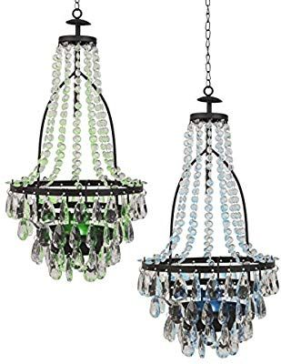 Amazon Com Diva At Home Set Of 2 Transparent Colored Solar Powered Led Lights Chandelier 20 5 G Solar Powered Led Lights Chandelier Led Crystal Chandelier