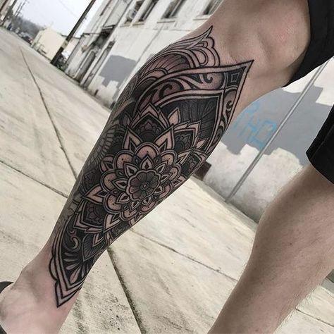 ▷▷ Mandala tattoos 【ON THE LEG】 (Male - Female) - Mandala tattoos on the leg -