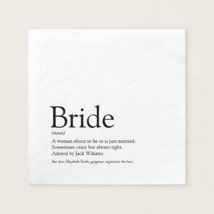 Fun Bride Definition Bridal Shower Modern Napkins Zazzle Com In 2020 Wedding Napkins Wedding Napkins Personalized Modern Bridal Shower