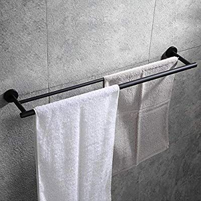 Hoooh Double Bath Towel Bar 30 Inch Matte Black Stainless Steel