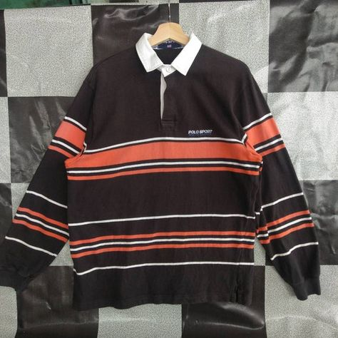 Vintage Polo Sport by Ralph Lauren Small Logo Striped Rugby crewneck Button Pull Over Sweatshirt Brown/orang Colour L Size Rare Item Indie Outfits, Retro Outfits, New Outfits, Vintage Outfits, Casual Outfits, Vintage Clothing, Fall Tomboy Outfits, 90s Clothing Style, Vintage Dresses