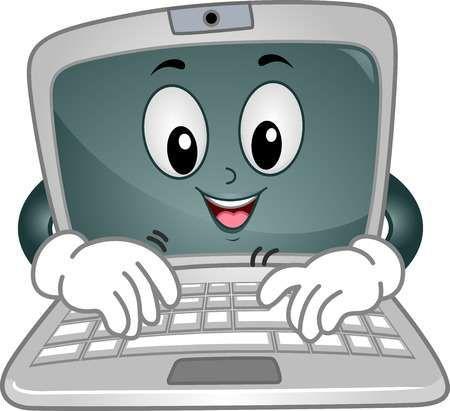 Ilustracion Mascota Con Un Portatil Escribiendo Lejos En Su Teclado Computadora Para Ninos Utiles Escolares Animados Clases De Computacion