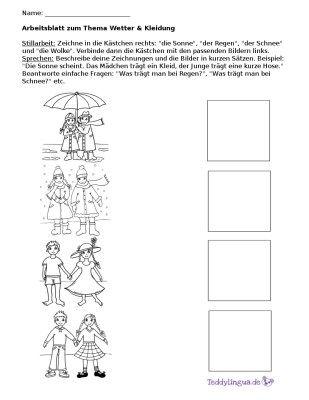 arbeitsblatter teddylingua daf arbeitsblatt zum thema kleidung und wetter die kinder zeichnen das