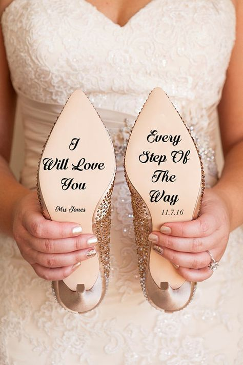 Gorgeous personalised wedding shoe decal featuring Mrs.Last Name and the date of the wedding along with the gorgeous I will love you every step of the way design This would make a perfect and unique accessory for your wedding day, or even for a friends. Please leave your LAST NAME