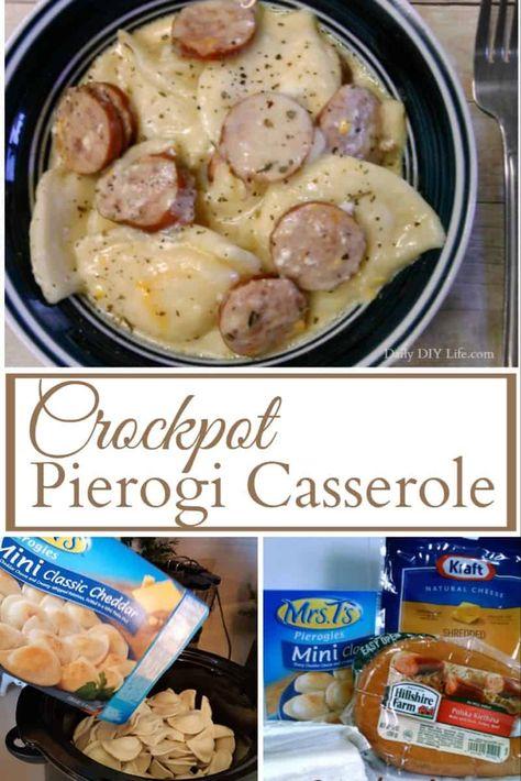 Crockpot Pierogi Casserole with Kielbasa - An Easy Meals Recipe