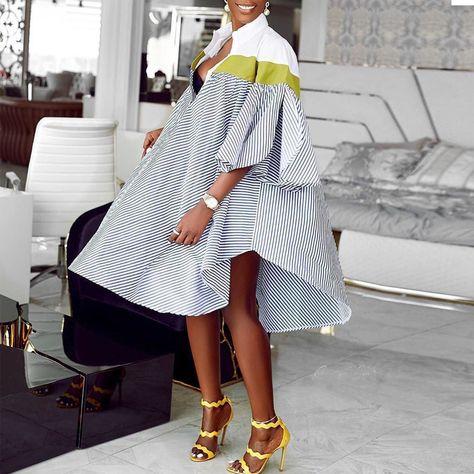 Lovely Casual Striped Asymmetrical Knee Length Shirt Dress_Dresses_LovelyWholesale | Wholesale Shoes,Wholesale Clothing, Cheap Clothes,Cheap Shoes Online. - LovelyWholesale.com