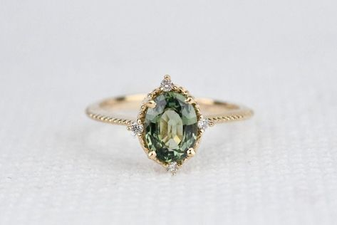 Aquamarine engagement ring rose gold engagement ring vintage Diamond Cluster ring wedding Bridal Set Three stone Anniversary gift for women - Fine Jewelry Ideas Green Engagement Rings, Vintage Engagement Rings, Vintage Rings, Handmade Engagement Rings, Green Sapphire, Green Diamond, Gold Rings, Gemstone Rings, Ringe Gold