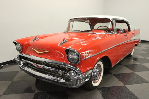 1957 Chevrolet Bel Air 2 Dr H T Orange With White Roof Vintage Muscle Cars Lowrider Cars Gm Car