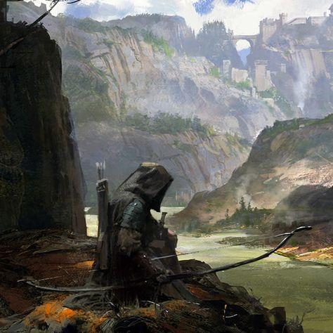 m Ranger Medium Armor Cloak Longbow River Valley Canyon Cliffs Monastery med Fantasy Concept Art, Fantasy Character Design, Fantasy Artwork, Character Art, Concept Art World, High Fantasy, Dark Fantasy Art, Medieval Fantasy, Fantasy World