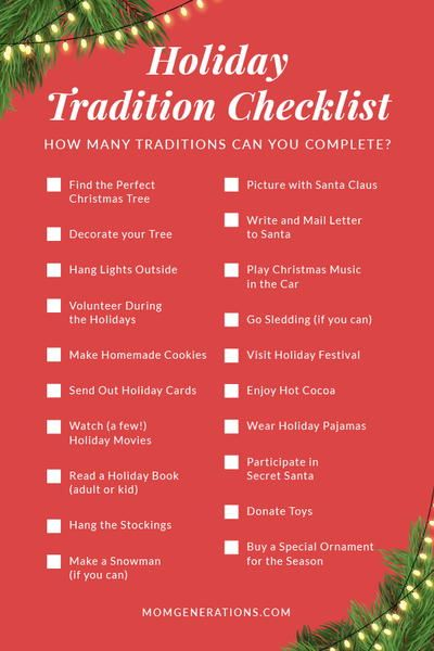 Holiday Tradition Checklist Holiday Checklist Holiday Traditions Holiday