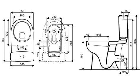 """Pack WC sureleve complet, """"Dito2"""" reservoir et cuvette ceramique sortie horizontale, hauteur 885 mm Lorans Robinetterie"""