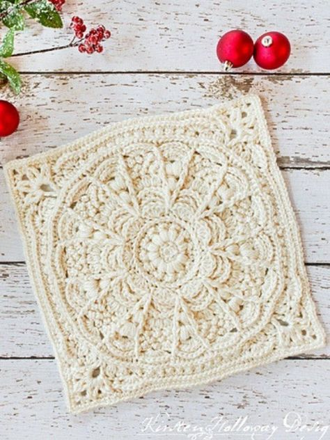 Granny Square Pattern: Winter Opulence - Kirsten Holloway Designs - Knit and Crochet Blankets - Granny Square Pattern: Winter Opulence – Kirsten Holloway Designs Winter Opulence Square Free Crochet Pattern Crochet Blocks, Granny Square Crochet Pattern, Crochet Motif, Crochet Designs, Crochet Stitches, Crochet Doilies, Free Crochet Square, Crochet Squares Afghan, Crochet Coaster