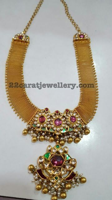 22 carat gold broad mesh necklace with antique finish embellished medium size necklace. Two step pendant attached in the center