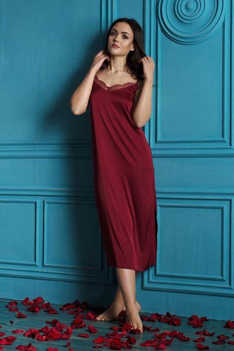 Long Satin Nightgown  Lace Bridal Nightwear & Sleepwear  Burgundy