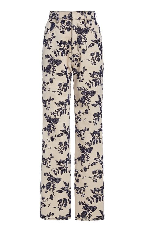 Rodarte Embroidered Cotton-Twill Straight-Leg Pants
