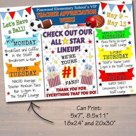 Sports All Star Vip Teacher Appreciation Week Itinerary Poster,  File, Appreciation Week Schedule Events,