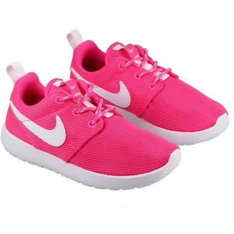 50f1886b24bd Nike Shoes Kids Roshe Run Hyper Pink White ( 62) ❤ liked on Polyvore  featuring shoes